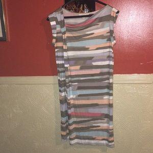 Anne Taylor LOFT Striped Multi Shift Dress Sz L
